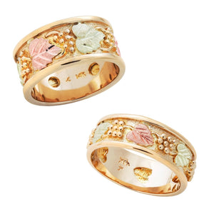 14 Karat Black Hills Gold His & Hers Inlaid Foliage Wedding Ring Set