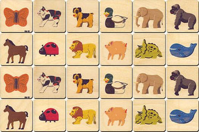 Animals Memory Tiles Game - Maple Landmark - Wooden Toys