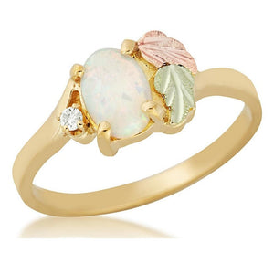 Black Hills Gold Opal and Diamond Ring - Fortune And Glory - Made in USA Gifts