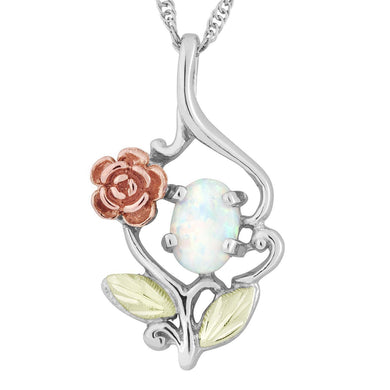 Sterling Silver Black Hills Gold Opal and Rose Pendant - Jewelry