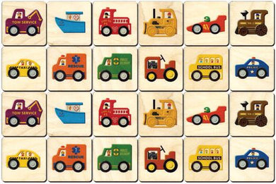 Vehicles Memory Tiles Game - Maple Landmark - Wooden Toys