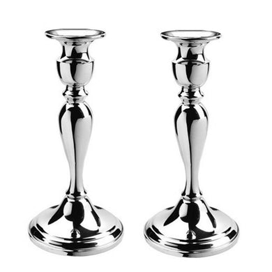 "Colonial Candlesticks - 8 ¼"" Pair in Pewter - Fortune And Glory - Made in USA Gifts"