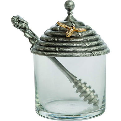 Pewter Honey Pot With Stirrer - X