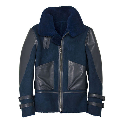 Kinfolk Blue Sheepskin Bomber Jacket