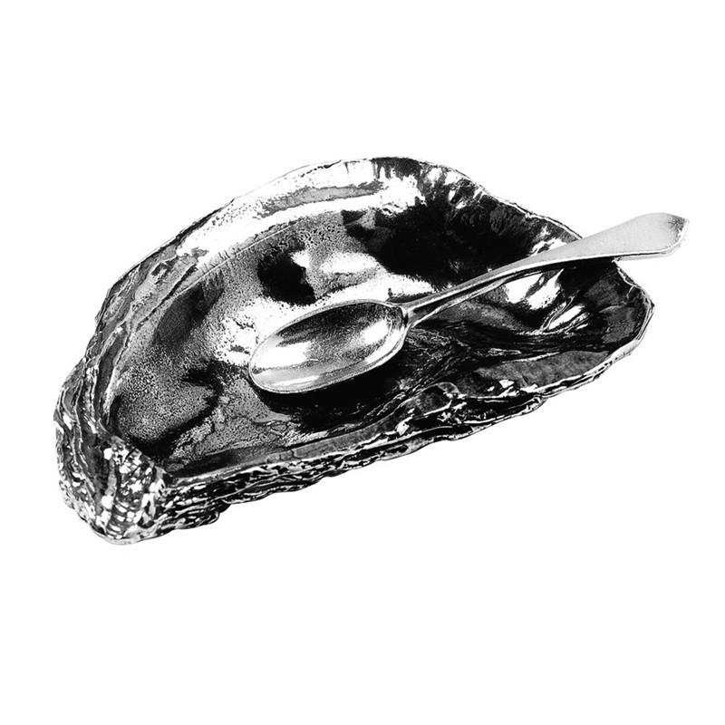 Oyster Shell Salt Cellar & Spoon in Pewter
