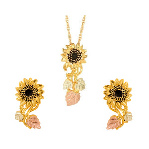 Black Hills Gold Sunflower Earrings & Pendant Set II