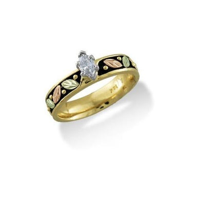 Black Hills Gold 14K Antiqued Wedding Diamond Ring II - Fortune And Glory - Made in USA Gifts