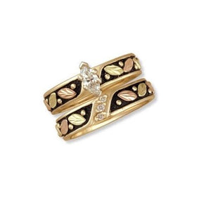 Black Hills Gold 14K Antiqued Wedding Diamond Ring I - Jewelry