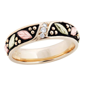Mens 14K Diamond Antiqued Black Hills Gold Ring - Jewelry