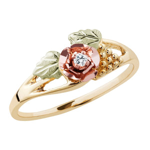 Diamond & Rose Black Hills Gold Ring