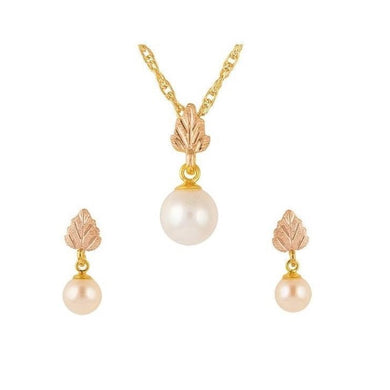Black Hills Gold Pearl Earrings & Pendant Set