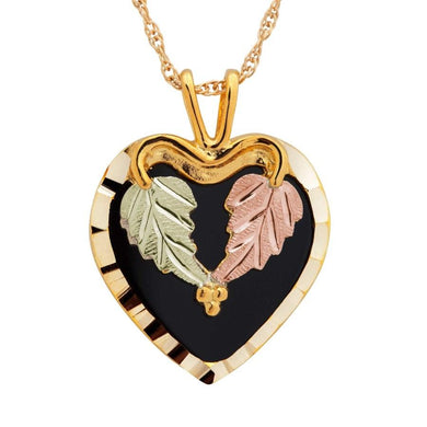 Black Hills Gold Beautiful Onyx Heart Pendant & Necklace - Jewelry