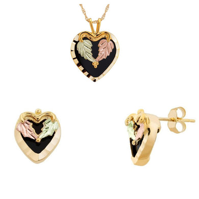 Black Hills Gold Onyx Hearts Earrings & Pendant Set