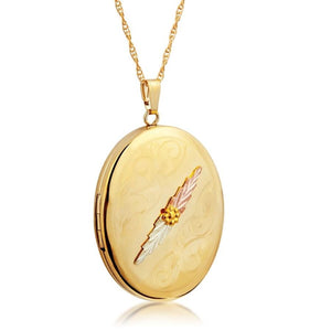 Black Hills Gold Round Fancy Locket Pendant & Necklace - Jewelry