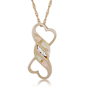 Black Hills Gold Diamond Bone Pendant & Necklace - Jewelry