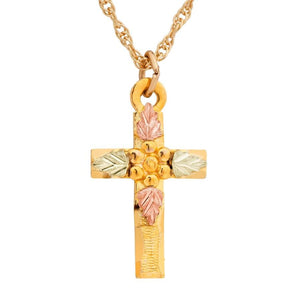 Black Hills Gold Miniature Cross Pendant & Necklace - Jewelry