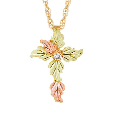Black Hills Gold Leafy Diamond Cross Pendant & Necklace - Jewelry