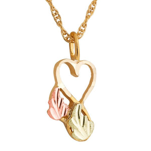 Black Hills Gold Foliage Heart Pendant & Necklace III - Jewelry