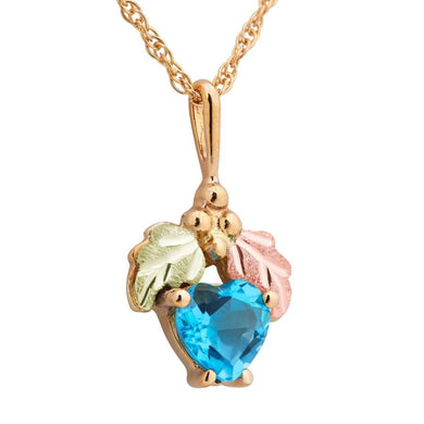 Black Hills Gold Heart Cut Blue Topaz Pendant & Necklace - Jewelry
