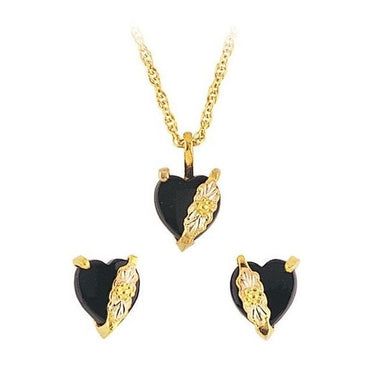 Black Hills Gold Onyx Hearts Earrings & Pendant Set II