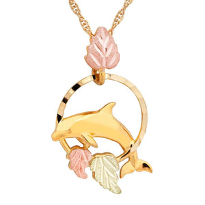 Black Hills Gold Dolphin Pendant & Necklace - Jewelry