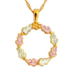 Black Hills Gold Foliage Wreath Pendant & Necklace - Jewelry