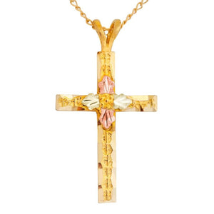 Black Hills Gold Leafy Cross Pendant & Necklace II - Jewelry