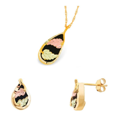 Black Hills Gold Onyx Drops Earrings & Pendant Set
