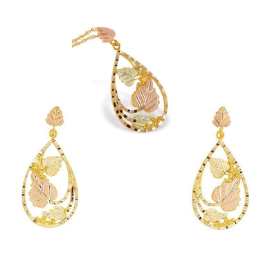 Black Hills Gold Foliage Earrings & Pendant Set III