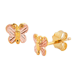 Baby Butterfly Black Hills Gold Earrings - Jewelry