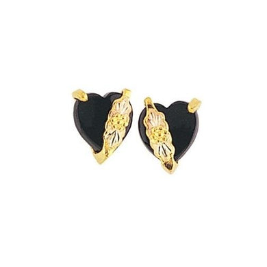 Hearts of Onyx Black Hills Gold Earrings - Jewelry