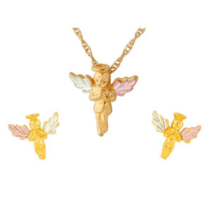 Black Hills Gold Angel Earrings & Pendant Set