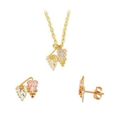 Black Hills Gold Foliage Earrings & Pendant Set IV