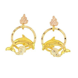 Golden Dolphins Black Hill Gold Earrings - Jewelry