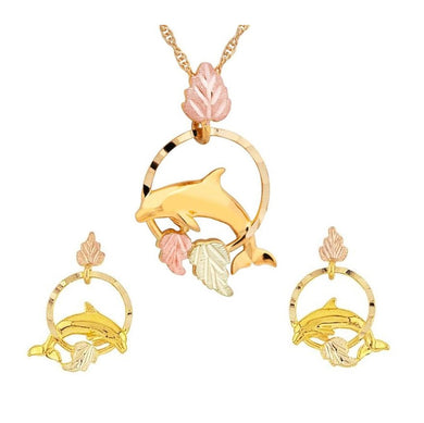 Black Hills Gold Dolphin Earrings & Pendant Set