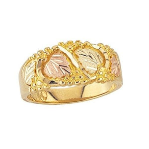 Mens Black Hills Gold Foliage Ring - Jewelry