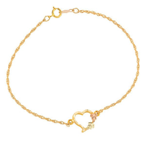 Delicate Heart 10K Bracelet - Black Hills Gold - Jewelry