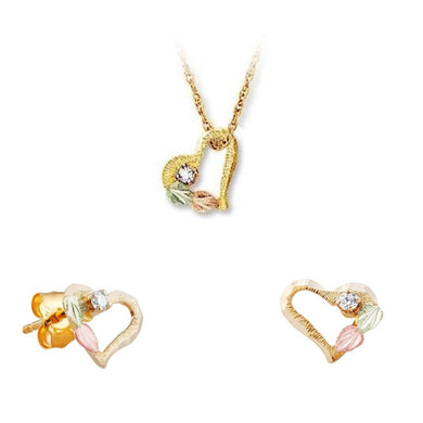 Black Hills Gold Diamond Hearts Earrings & Pendant Set