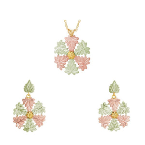 Black Hills Gold Snowflake Design Earrings & Pendant Set