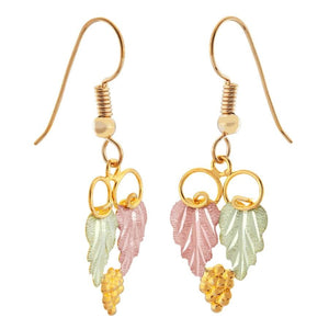 Black Hills Gold Loops Leaves & Grapes Earrings - Jewelryx