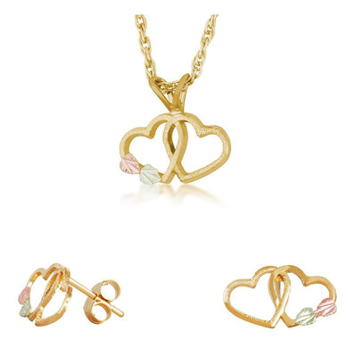 Black Hills Gold Intertwined Heart Earrings & Pendant Set