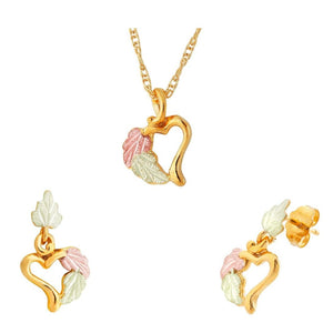 Black Hills Gold Leafy Heart Earrings & Pendant Set