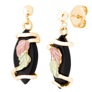Dangling Onyx Black Hills Gold Earrings - Jewelry