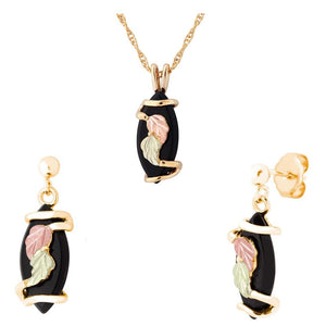 Black Hills Gold Onyx Drops Earrings & Pendant Set II