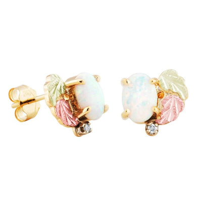Diamond Opal Black Hills Gold Earrings - Jewelry