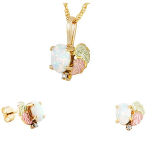 Black Hills Gold Foliage Opals Earrings & Pendant Set II