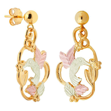 Hummingbird Grapes Black Hills Gold Earrings - Jewelry