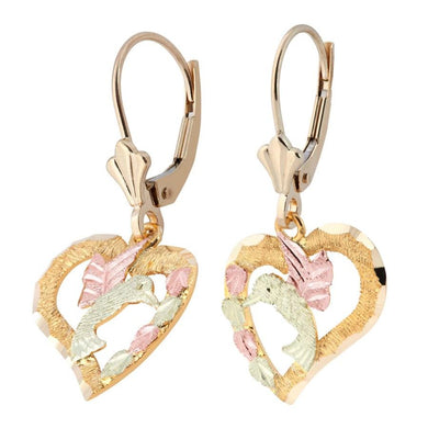 Hummingbird Hearts Black Hills Gold Earrings - Jewelry