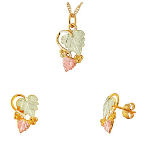 Black Hills Gold Foliage Grapes Earrings & Pendant Set V