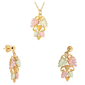 Black Hills Gold Superb Foliage Earrings & Pendant Set